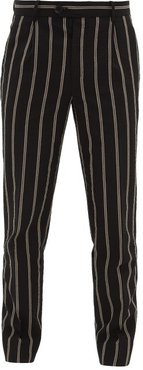 Francois Striped Wool-blend Seersucker Trousers - Mens - Black Multi