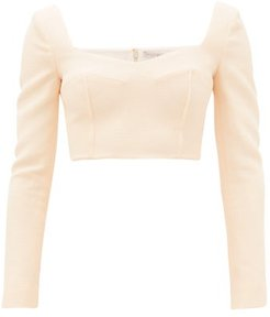 Jules Cropped Sweetheart-neck Cloqué Top - Womens - Cream