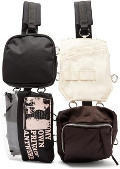 Multi-pouch Technical-canvas Backpack - Mens - Black Multi