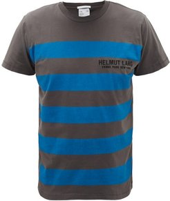 Logo-embroidered Striped Cotton T-shirt - Mens - Grey Blue