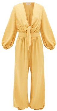 Plunge Tie-front Elasticated-cuff Jumpsuit - Womens - Yellow