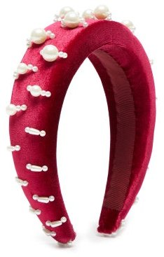 Lili 1 Embellished Padded-velvet Headband - Womens - Burgundy