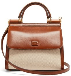 Sicily 58 Small Leather And Canvas Bag - Womens - Beige Multi