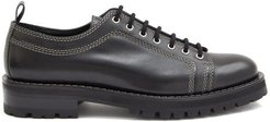 Topstitched Leather Derby Shoes - Mens - Black