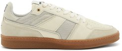 Logo-embroidered Leather Trainers - Mens - White Multi