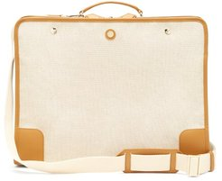 Stowaway Leather-trimmed Canvas Suitcase - Womens - Tan Multi