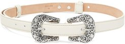 Audrey Leather Belt - Womens - White
