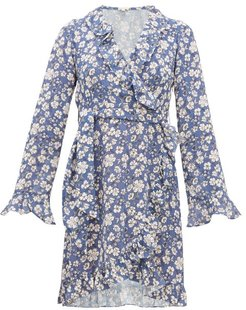 Ramona Ruffled Floral-print Crepe Dress - Womens - Blue White