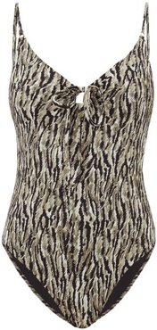 Yara Tie-front Abstract-print Swimsuit - Womens - Khaki Print