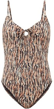 Yara Tie-front Abstract-print Swimsuit - Womens - Brown Print