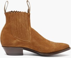 Pancho Suede-leather Chelsea Boots - Mens - Brown