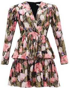 Amelia Metallic-jacquard Floral Silk-blend Dress - Womens - Black Multi