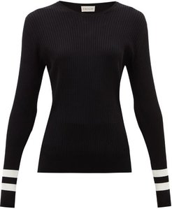 Ribbed Intarsia-knitted Sweater - Womens - Black White