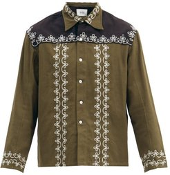 Fellows Embroidered Cotton Jacket - Mens - Black Green