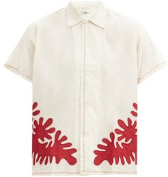 Setting Appliqué Cotton Shirt - Mens - Beige
