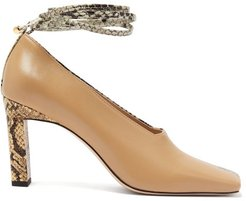 Isa Two-tone Square-toe Leather Pumps - Womens - Beige Multi