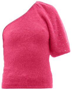 Beaded One-sleeve Mohair-blend Sweater - Womens - Pink