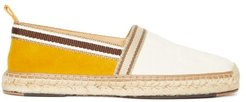 Striped Suede And Canvas Espadrilles - Mens - Beige Multi
