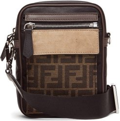 Ff Coated-canvas And Leather Cross-body Bag - Mens - Brown Multi