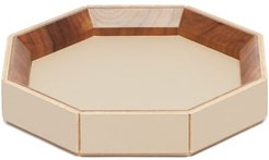 1969 - Coste Valet Medium Leather And Walnut-wood Tray - Beige