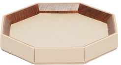 1969 - Coste Valet Large Leather And Walnut-wood Tray - Beige