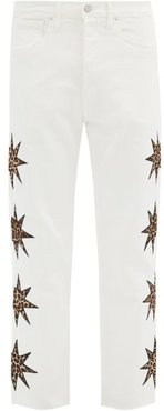 Leopard Star-appliqué Straight-leg Jeans - Mens - White