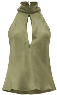 The High Neck Sandwashed-silk Halterneck Blouse - Womens - Khaki