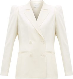 Double-breasted Wool-twill Jacket - Womens - White