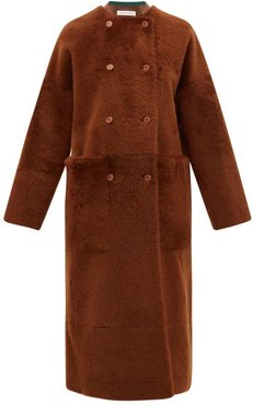 Georges Collarless Shearling Coat - Womens - Mid Brown