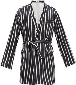 Belted Striped Cotton Robe - Mens - Black White
