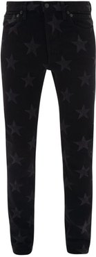 Star-print Slim-leg Jeans - Mens - Black