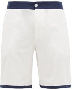 Contrast-trim Cotton-herringbone Pyjama Shorts - Mens - White
