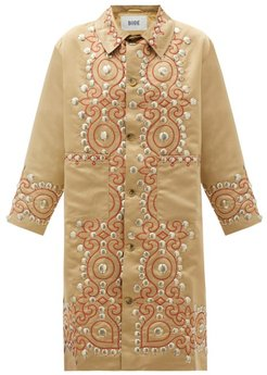 Studded Paisley-embroidered Satin Coat - Womens - Gold