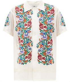 Floral-needlepoint Cotton-gauze Shirt - Womens - White