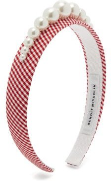 Stella Faux Pearl-embellished Gingham Headband - Womens - Red Print