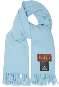 Fringed Merino-wool Scarf - Womens - Blue
