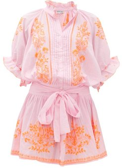 Ruffled High-neck Embroidered-cotton Blouson Dress - Womens - Pink Print