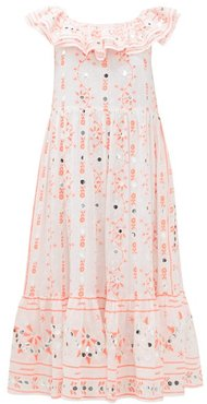 Nomad Off-the-shoulder Mirror-work Cotton Dress - Womens - Red White