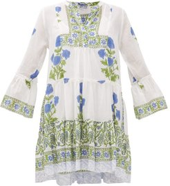 Tiered Floral-print Cotton Dress - Womens - Green White