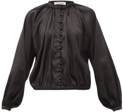 Gloria Silk-blend Satin Blouse - Womens - Black