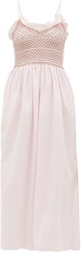 Bianca Shirred-bodice Embroidered Cotton Dress - Womens - Pink Multi