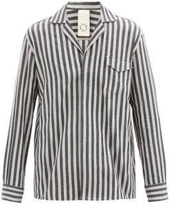 Notched-collar Striped Cotton-blend Shirt - Mens - Black Grey