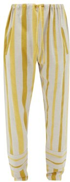 Drawstring Striped Cotton-blend Trousers - Mens - Cream Multi