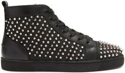 Louis Spike-embellished High-top Leather Trainers - Mens - Black Multi
