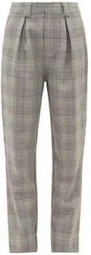 Prince Of Wales-check Tailored Trousers - Womens - Grey