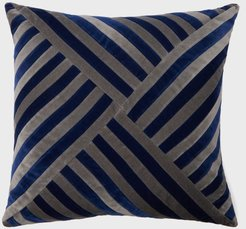 Lily Striped Cotton-velvet Cushion - Grey Multi
