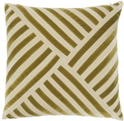 Lily Striped Cotton-velvet Cushion - Green Multi