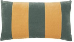 Striped Cotton-velvet Cushion - Yellow Multi
