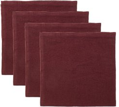 Set Of Four Rolled-edge Linen Napkins - Red