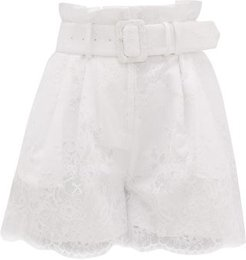 High-rise Belted Lace-overlay Shorts - Womens - White